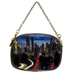 Building And Red And Yellow Light Road Time Lapse Chain Purses (one Side)  by Nexatart