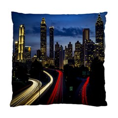 Building And Red And Yellow Light Road Time Lapse Standard Cushion Case (one Side) by Nexatart