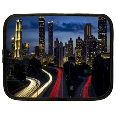 Building And Red And Yellow Light Road Time Lapse Netbook Case (xl)