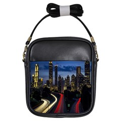 Building And Red And Yellow Light Road Time Lapse Girls Sling Bags
