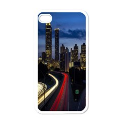 Building And Red And Yellow Light Road Time Lapse Apple Iphone 4 Case (white) by Nexatart