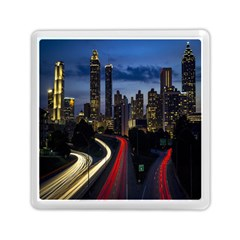 Building And Red And Yellow Light Road Time Lapse Memory Card Reader (square)