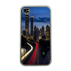 Building And Red And Yellow Light Road Time Lapse Apple Iphone 4 Case (clear)