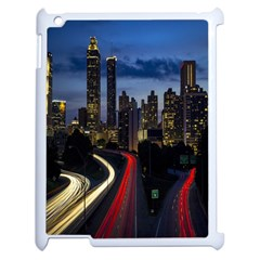 Building And Red And Yellow Light Road Time Lapse Apple Ipad 2 Case (white)