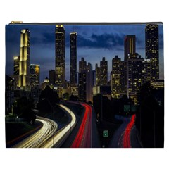 Building And Red And Yellow Light Road Time Lapse Cosmetic Bag (xxxl)