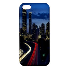 Building And Red And Yellow Light Road Time Lapse Apple Iphone 5 Premium Hardshell Case by Nexatart