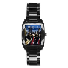 Building And Red And Yellow Light Road Time Lapse Stainless Steel Barrel Watch by Nexatart