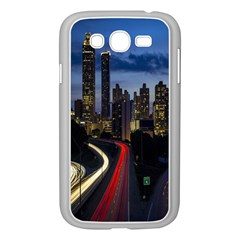 Building And Red And Yellow Light Road Time Lapse Samsung Galaxy Grand Duos I9082 Case (white) by Nexatart