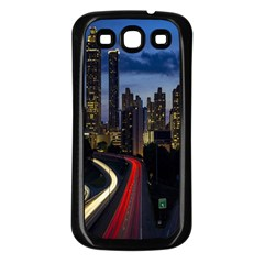 Building And Red And Yellow Light Road Time Lapse Samsung Galaxy S3 Back Case (black)