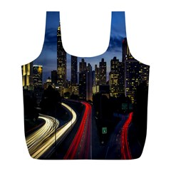 Building And Red And Yellow Light Road Time Lapse Full Print Recycle Bags (l)  by Nexatart