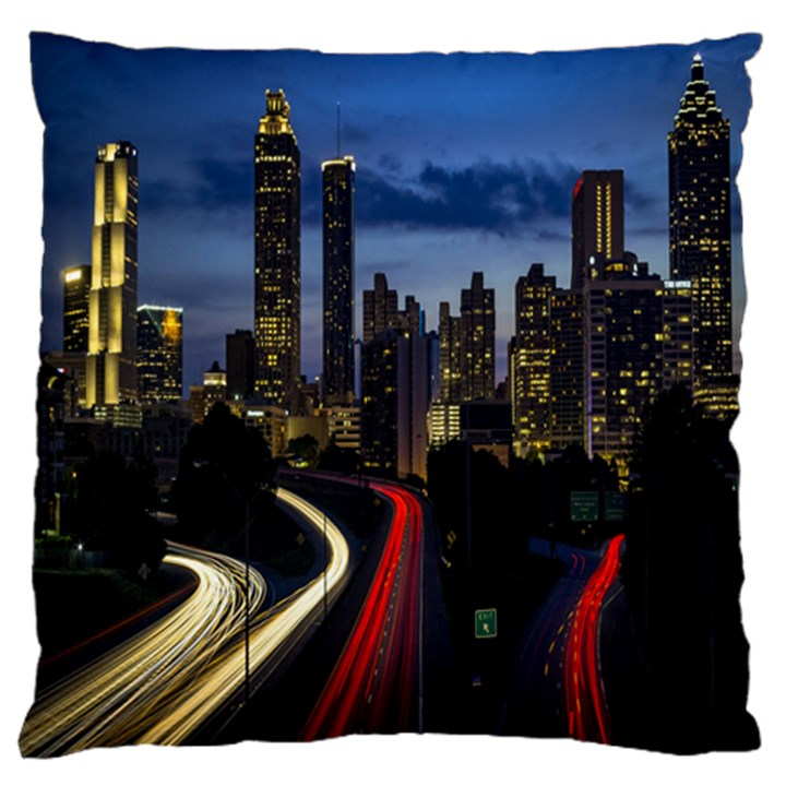 Building And Red And Yellow Light Road Time Lapse Large Flano Cushion Case (Two Sides)