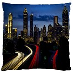 Building And Red And Yellow Light Road Time Lapse Large Flano Cushion Case (Two Sides) Back