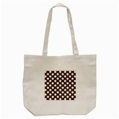 Brown Polkadot Background Tote Bag (cream) by Nexatart
