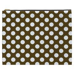 Brown Polkadot Background Cosmetic Bag (xxxl)
