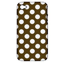 Brown Polkadot Background Apple Iphone 4/4s Hardshell Case (pc+silicone)