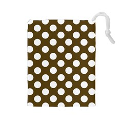 Brown Polkadot Background Drawstring Pouches (large)