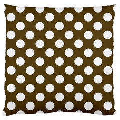 Brown Polkadot Background Large Flano Cushion Case (one Side) by Nexatart