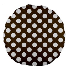 Brown Polkadot Background Large 18  Premium Flano Round Cushions by Nexatart
