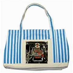 Car Engine Striped Blue Tote Bag