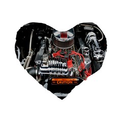 Car Engine Standard 16  Premium Flano Heart Shape Cushions by Nexatart