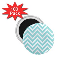 Chevrons Zigzags Pattern Blue 1 75  Magnets (100 Pack)