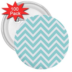 Chevrons Zigzags Pattern Blue 3  Buttons (100 Pack)