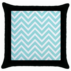Chevrons Zigzags Pattern Blue Throw Pillow Case (black)