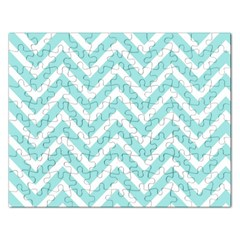 Chevrons Zigzags Pattern Blue Rectangular Jigsaw Puzzl by Nexatart