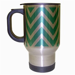 Chevrons Zigzags Pattern Blue Travel Mug (silver Gray)