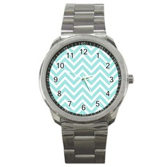 Chevrons Zigzags Pattern Blue Sport Metal Watch