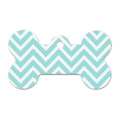 Chevrons Zigzags Pattern Blue Dog Tag Bone (Two Sides)