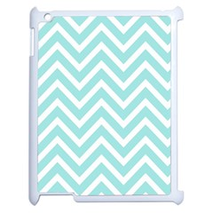 Chevrons Zigzags Pattern Blue Apple Ipad 2 Case (white)