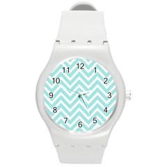 Chevrons Zigzags Pattern Blue Round Plastic Sport Watch (m)