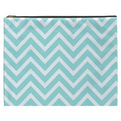 Chevrons Zigzags Pattern Blue Cosmetic Bag (xxxl)