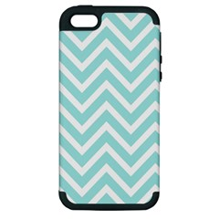 Chevrons Zigzags Pattern Blue Apple Iphone 5 Hardshell Case (pc+silicone)