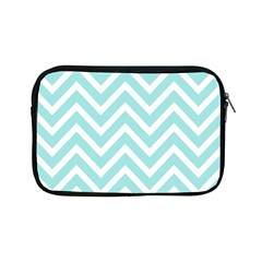 Chevrons Zigzags Pattern Blue Apple Ipad Mini Zipper Cases by Nexatart