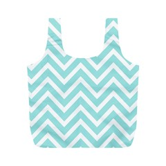 Chevrons Zigzags Pattern Blue Full Print Recycle Bags (m)