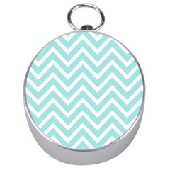 Chevrons Zigzags Pattern Blue Silver Compasses
