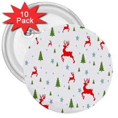 Christmas Pattern 3  Buttons (10 Pack)