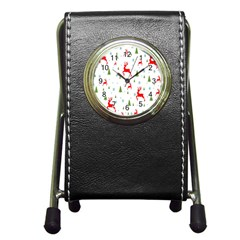 Christmas Pattern Pen Holder Desk Clocks by Nexatart