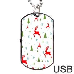 Christmas Pattern Dog Tag USB Flash (Two Sides) by Nexatart