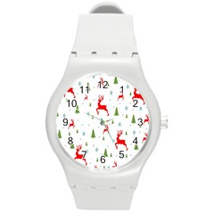 Christmas Pattern Round Plastic Sport Watch (m)
