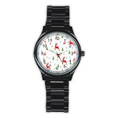 Christmas Pattern Stainless Steel Round Watch by Nexatart