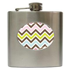 Chevrons Stripes Colors Background Hip Flask (6 Oz)