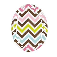 Chevrons Stripes Colors Background Oval Filigree Ornament (two Sides)