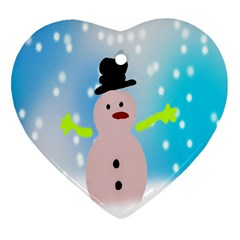 Christmas Snowman Heart Ornament (two Sides)