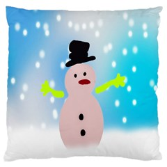 Christmas Snowman Large Cushion Case (one Side)