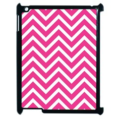 Chevrons Stripes Pink Background Apple Ipad 2 Case (black) by Nexatart