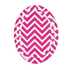 Chevrons Stripes Pink Background Oval Filigree Ornament (two Sides)