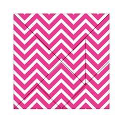 Chevrons Stripes Pink Background Acrylic Tangram Puzzle (6  X 6 )